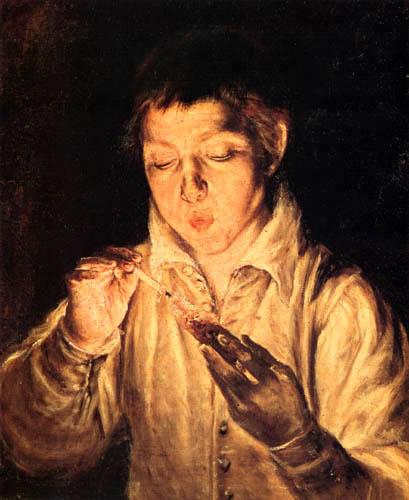 El Greco (Doménikos Theotokópoulos) - Ein Junge entzündet eine Kerze