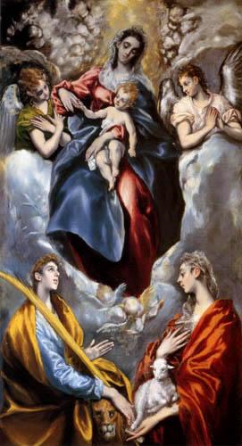 El Greco (Doménikos Theotokópoulos) - Die Jungfrau mit den hll. Agnes und Martin