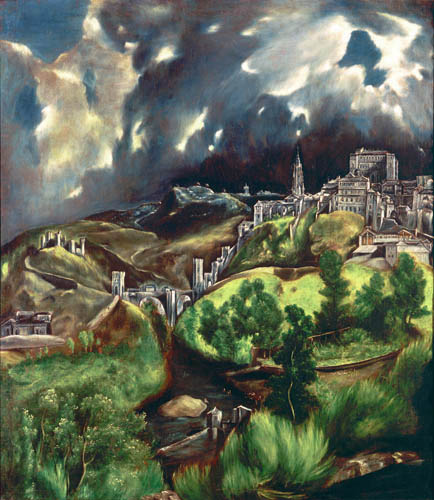 El Greco (Doménikos Theotokópoulos) - Gewitter über Toledo