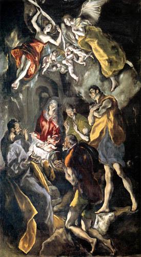 El Greco (Doménikos Theotokópoulos) - Die Anbetung des Kindes
