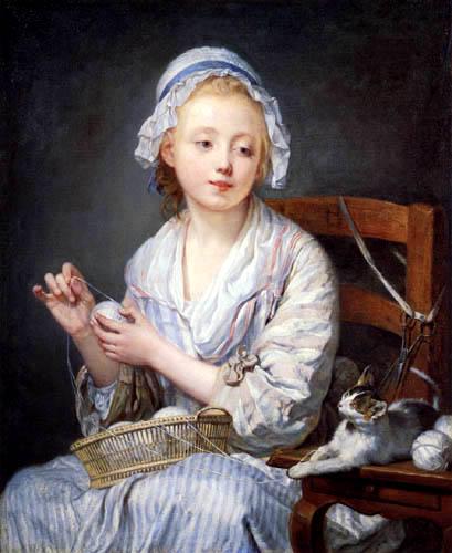 Jean-Baptiste Greuze - Mädchen beim Wollewickeln