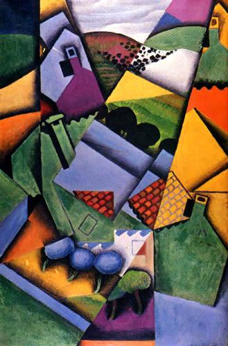 Juan Gris - Paysage avec des maisons