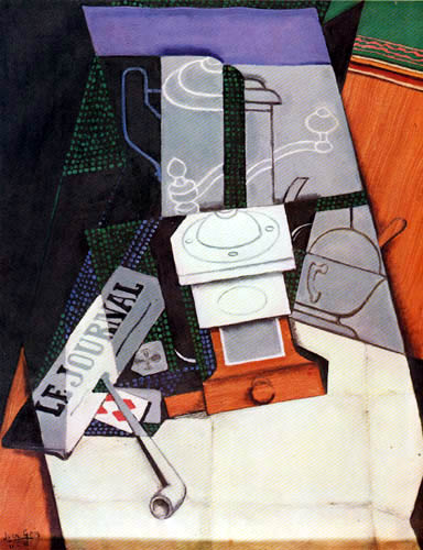 Juan Gris - Newspaper and coffee grinder