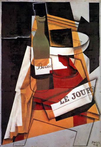 Juan Gris - Bouteille et journal