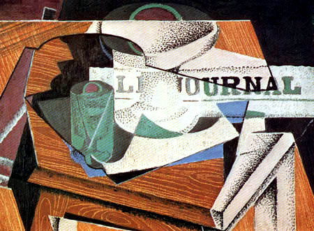 Juan Gris - Kompottschale, Glas und Zeitung