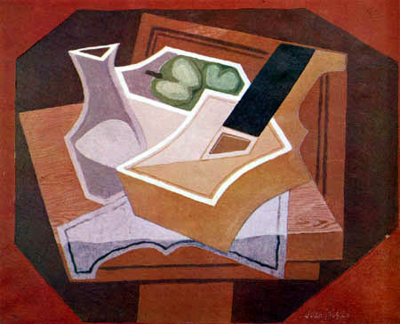 Juan Gris - Guitar, apples and bottle