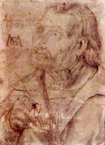 Matthias (Matthaeus, Mathis) Grünewald (Grün) - Erlanger Selbstbildnis
