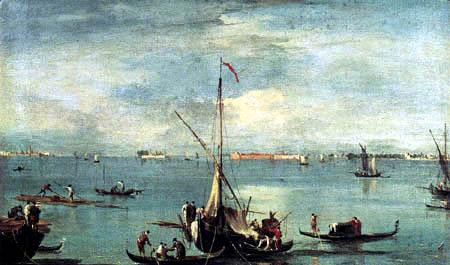 Francesco Guardi - Lagune avec des bateaux, voitures et radeaux