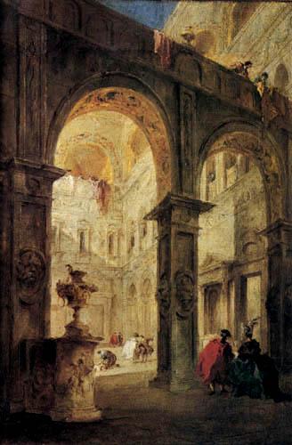 Francesco Guardi - Vorhof eines Palastes