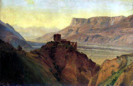 Louis Gurlitt - The ruins of the castle with the Adige Valley