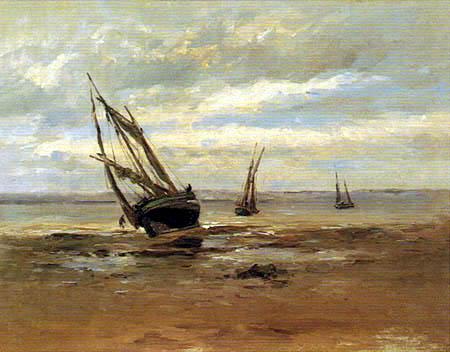 Carlos de Haes - Stranded Boat near Villerville