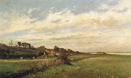 Carlos de Haes - Weideland bei Villerville, Frankreich