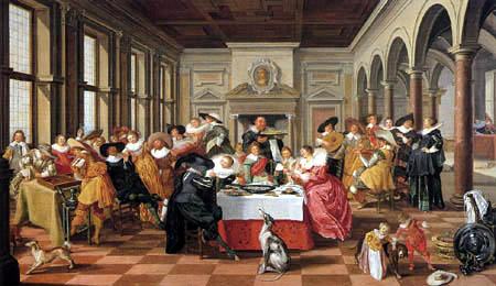 Dirck Hals - A happy company in a hall