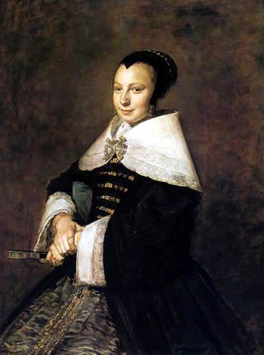 Frans Hals - Porträt einer sitzenden Dame mit Fächer