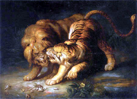 Johann Georg de Hamilton - A lion and tiger in a cave