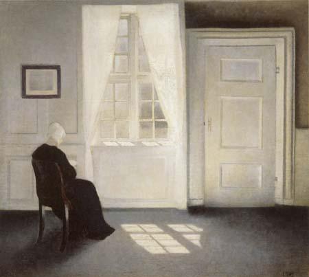 Vilhelm Hammershøi - Femme lisant au soleil, Strandgade