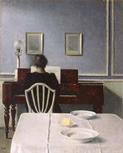 Vilhelm Hammershøi - Interior with a Woman at the Piano, Strandgade