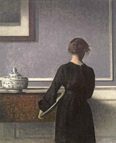 Vilhelm Hammershøi - Interior with a Young Woman