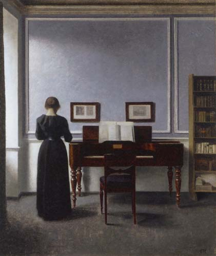 Vilhelm Hammershøi - Interior with a Woman at the Piano, Strandgade