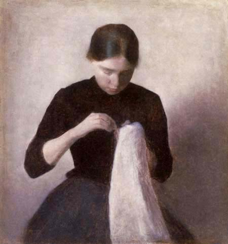 Vilhelm Hammershøi - A  Sewing Young Girl
