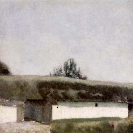 Vilhelm Hammershøi - Landscape with a Barn