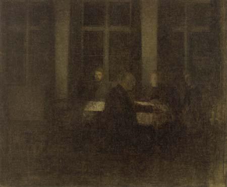 Vilhelm Hammershøi - Abends im Wohnzimmer