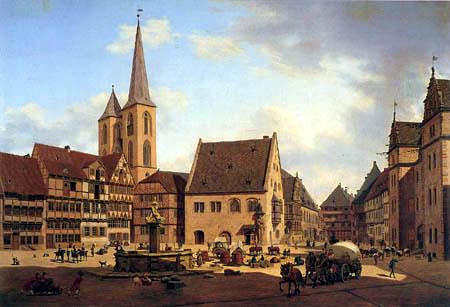 Carl Hasenpflug - Holzmarkt und Martinikirche zu Halberstadt