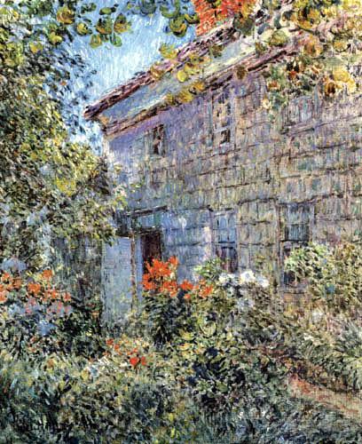 Childe Hassam - Altes Haus mit Garten, East Hampton