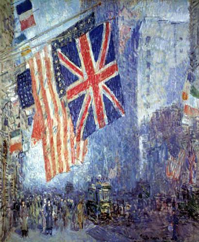 Childe Hassam - The Union Jack, New York, Aprilmorgen