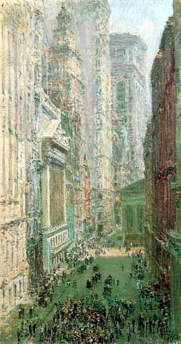 Childe Hassam - Lower Manhatten, Broad and Wall Streets