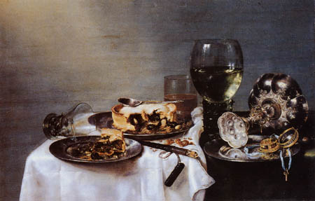 Willem Claesz Heda - A plate of cakes and wine glass