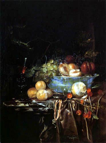 Jan Davidsz de Heem - A bowl of fruit and a clock