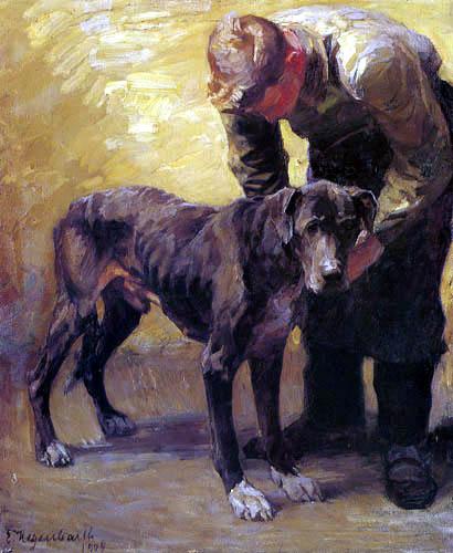 Emanuel Hegenbarth - Man with Mastiff