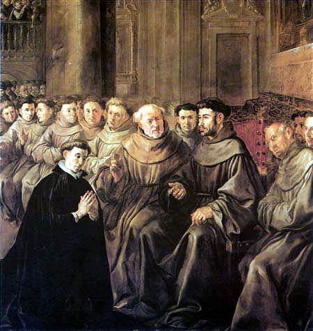 San Buenaventura recibe el hábito de San Franciso - Francisco Herrera el  Viejo - como impresión artística de reproArte