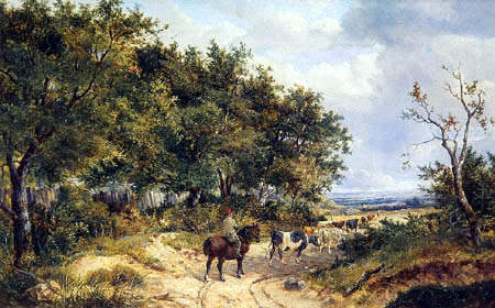 John Frederick Herring, Junior - Cattle and Drover on a country path