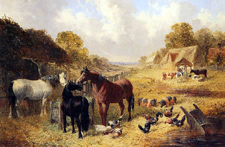 John Frederick Herring, Junior - Horses, pigs and poultry in a Farmyard