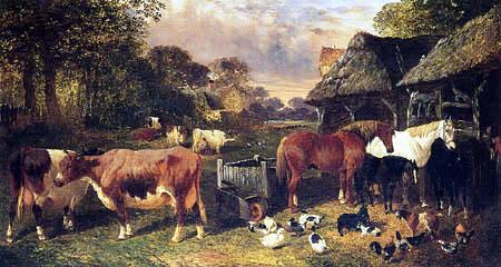 John Frederick Herring, Junior - A Farmyard at Sunset
