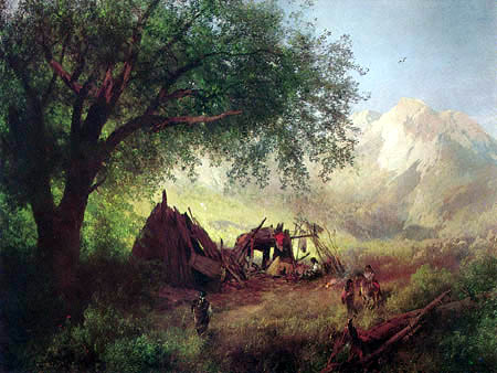 Hermann Herzog - Indian Hogans in the California Sierras