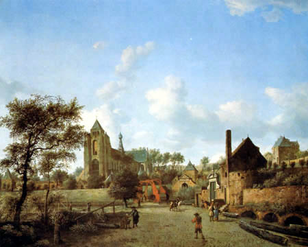 Jan van der Heyden (Heyde) - View of Veere