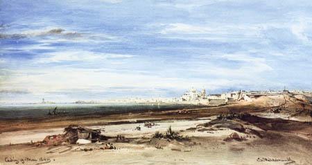 Eduard Hildebrandt - Blick auf Cadiz, Spanien
