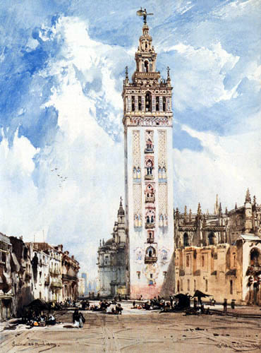 Eduard Hildebrandt - View of the Giralda in Seville