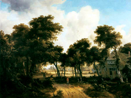 Meindert L. Hobbema - Farm on a wood