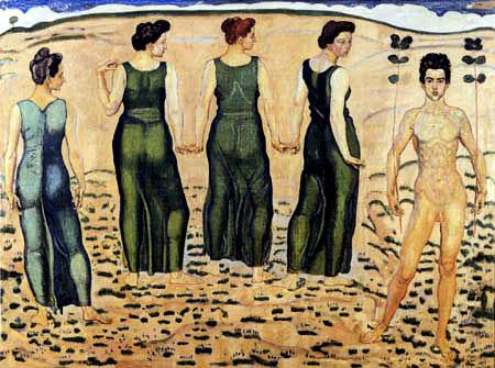 Ferdinand Hodler - Jüngling vom Weib bewundert