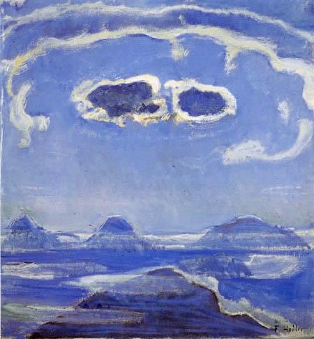 Ferdinand Hodler - Eiger, Mönch y Jungfrau, en el claro de luna