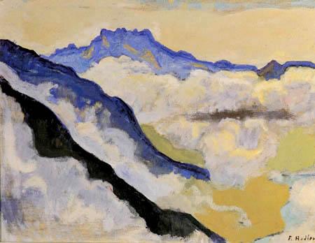 Ferdinand Hodler - Dents du Midi in den Wolken