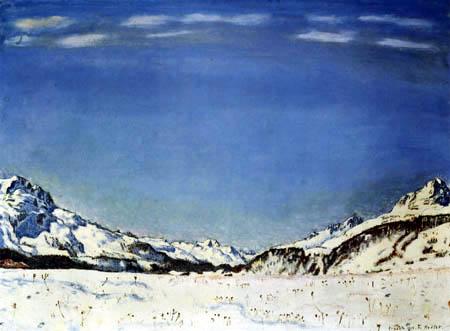 Ferdinand Hodler - De nieve de otoño en la Engadina