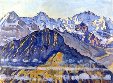 Ferdinand Hodler - Eiger, Mönch y Jungfrau, en el sol