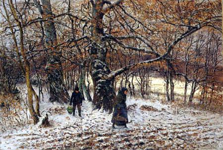 Theodor von Hörmann - Children in a winter wood, Wessling