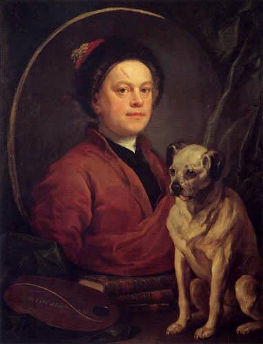 William Hogarth - Selbstbildnis mit Hund