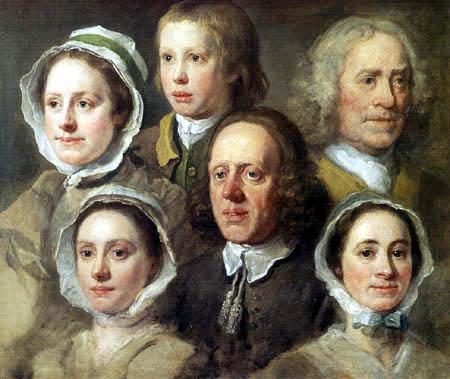 William Hogarth - Porträt der sechs Dienstboten Hogarths